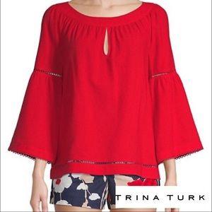 Trina Turk Wayfair Bell Sleeve Red Top Sz L